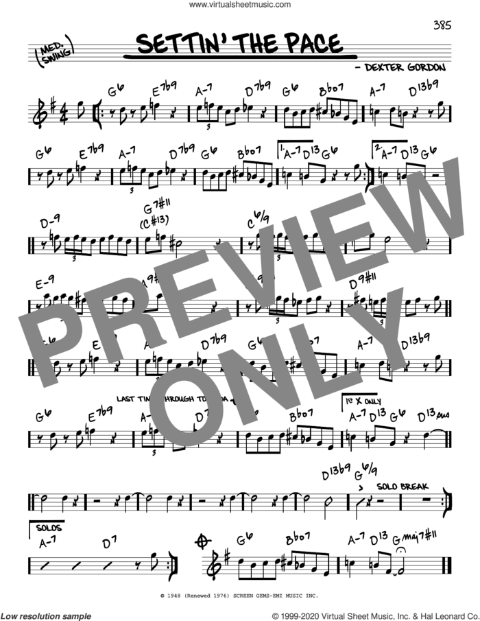 Settin' The Pace sheet music for voice and other instruments (real book) by Dexter Gordon, intermediate skill level
