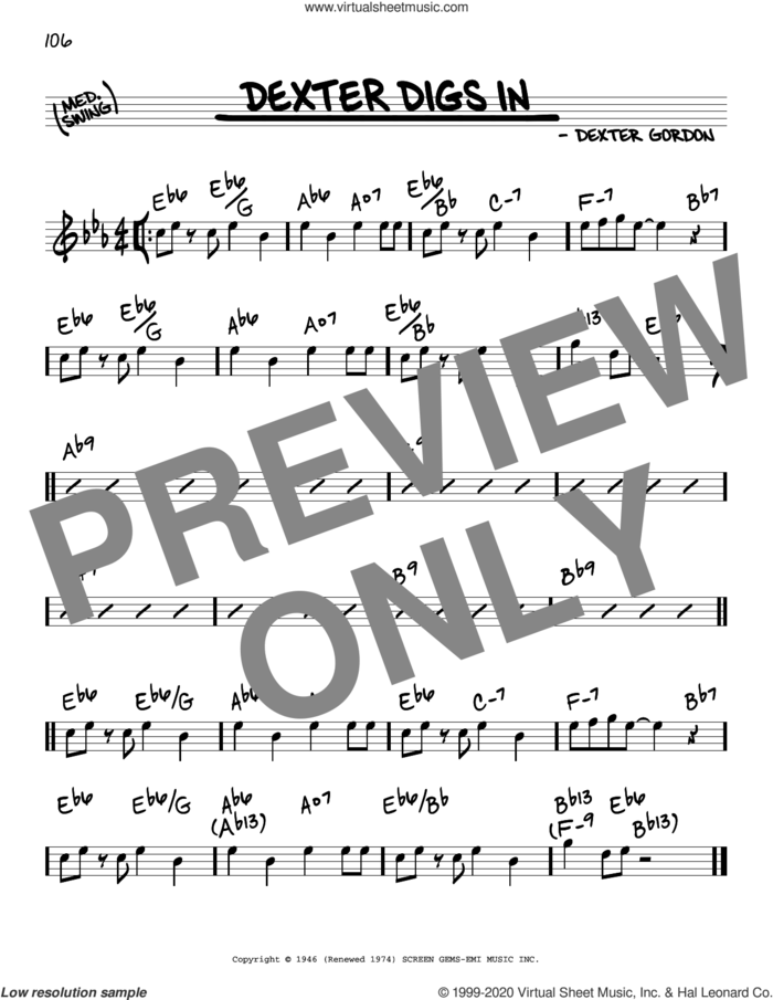 Dexter Digs In sheet music for voice and other instruments (real book) by Dexter Gordon, intermediate skill level