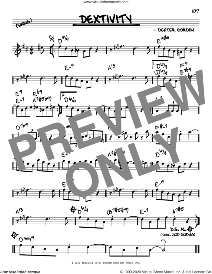Dextivity sheet music for voice and other instruments (real book) by Dexter Gordon, intermediate skill level
