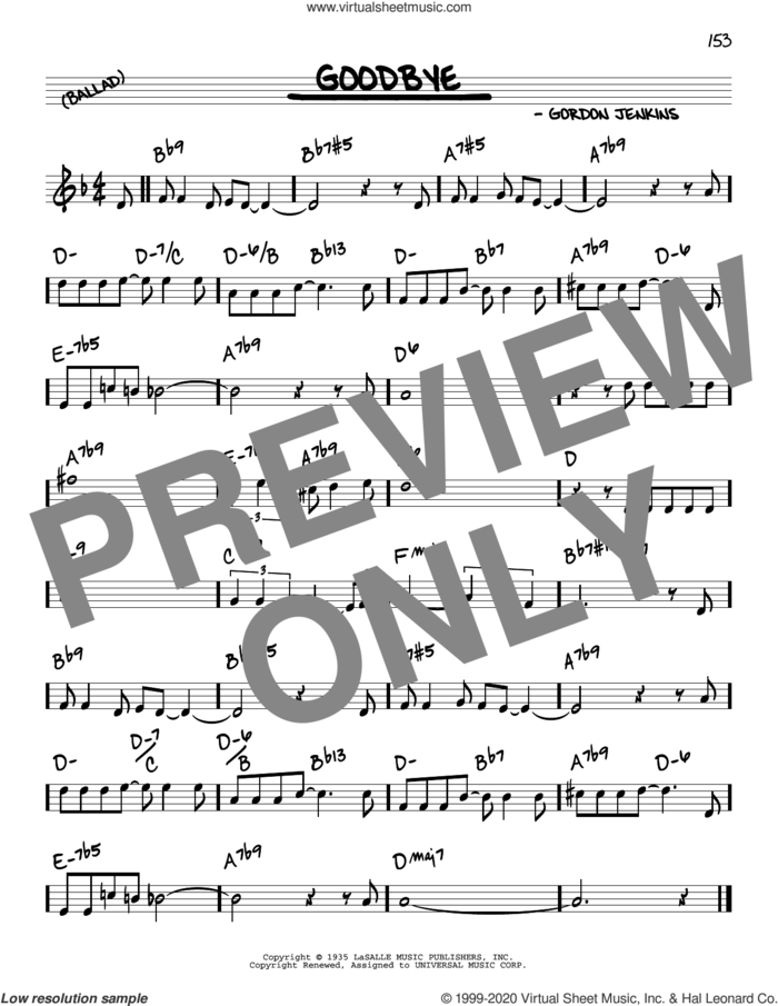 Goodbye sheet music for voice and other instruments (real book) by Benny Goodman, Linda Ronstadt, Rosemary Clooney and Gordon Jenkins, intermediate skill level