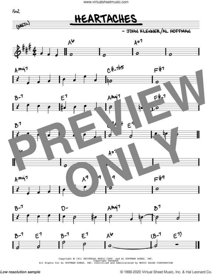 Heartaches sheet music for voice and other instruments (real book) by Al Hoffman, Guy Lombardo and His Royal Canadians, Patsy Cline, Ted Weems, Al Hoffman and John Klenner and John Klenner, intermediate skill level