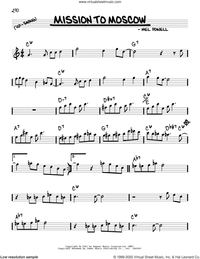 Mission To Moscow sheet music for voice and other instruments (real book) by Benny Goodman and Mel Powell, intermediate skill level