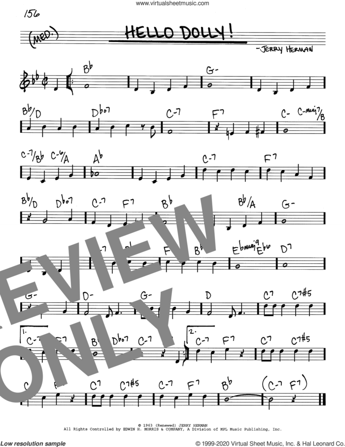 Hello, Dolly! sheet music for voice and other instruments (real book) by Louis Armstrong and Jerry Herman, intermediate skill level