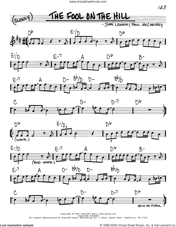 The Fool On The Hill sheet music for voice and other instruments (real book) by The Beatles, John Lennon and Paul McCartney, intermediate skill level