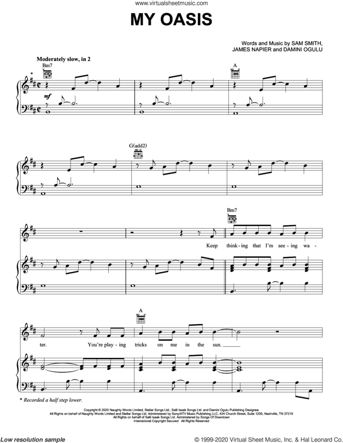 My Oasis (feat. Burna Boy) sheet music for voice, piano or guitar by Sam Smith, Damini Ogulu and James Napier, intermediate skill level