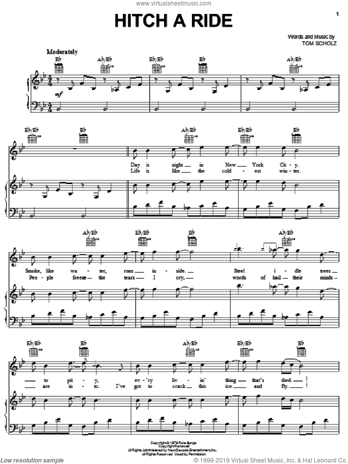 Hitch A Ride sheet music for voice, piano or guitar by Boston and Tom Scholz, intermediate skill level