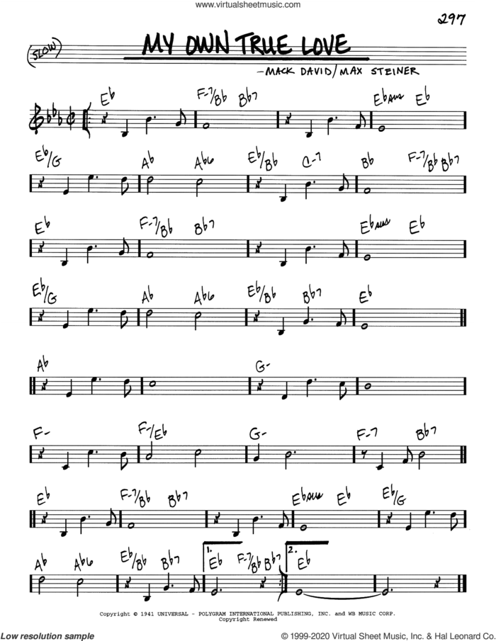 My Own True Love sheet music for voice and other instruments (real book) by Mack David and Max Steiner, intermediate skill level