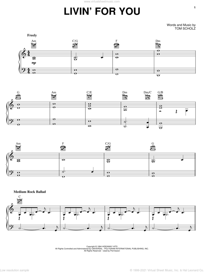 Livin' For You sheet music for voice, piano or guitar by Boston and Tom Scholz, intermediate skill level