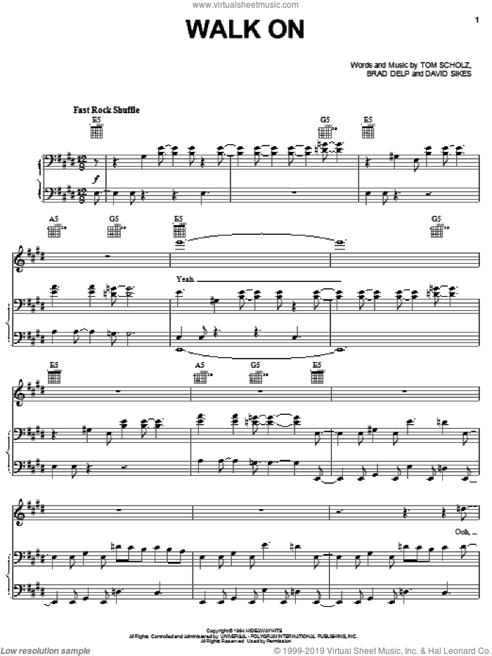 Walk On sheet music for voice, piano or guitar by Boston, Brad Delp, David Sikes and Tom Scholz, intermediate skill level