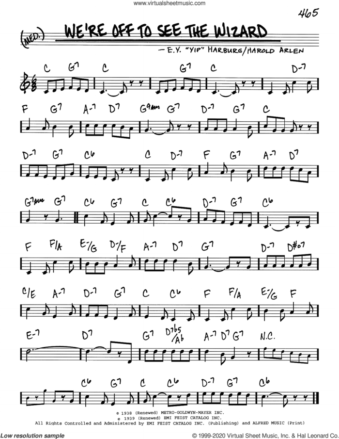 We're Off To See The Wizard (from The Wizard Of Oz) sheet music for voice and other instruments (real book) by Harold Arlen and E.Y. Harburg, intermediate skill level