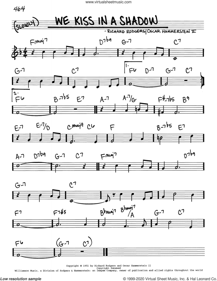 We Kiss In A Shadow sheet music for voice and other instruments (real book) by Richard Rodgers, Oscar II Hammerstein and Rodgers & Hammerstein, intermediate skill level