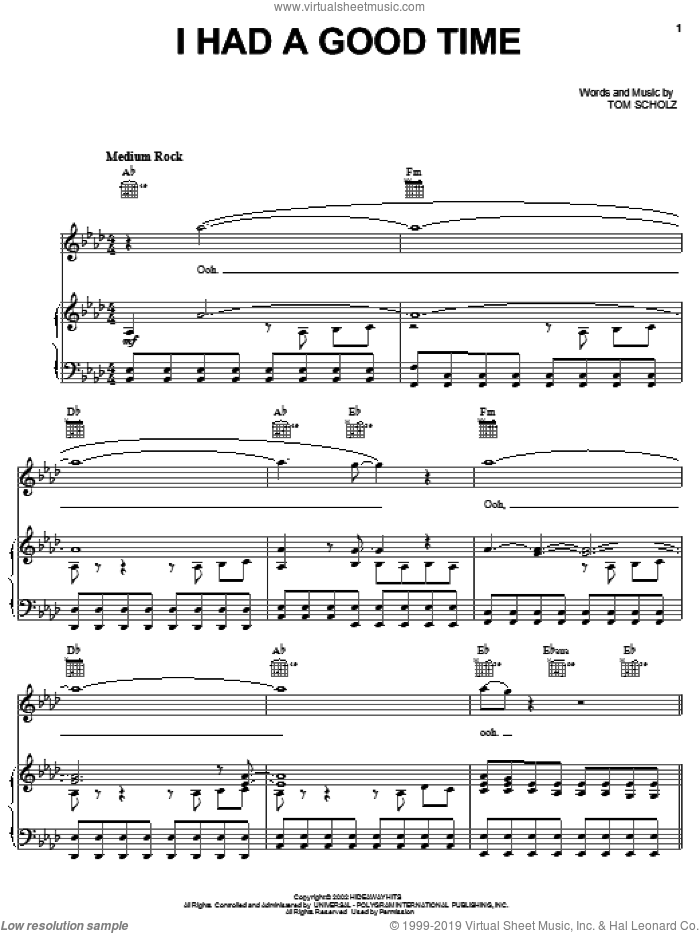 I Had A Good Time sheet music for voice, piano or guitar by Boston and Tom Scholz, intermediate skill level