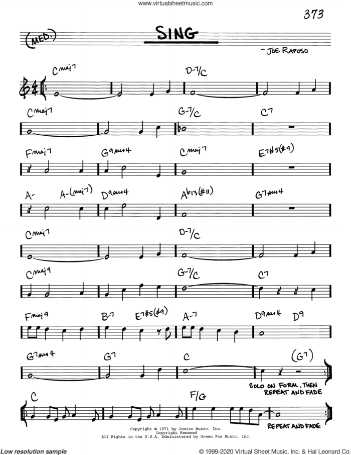Sing sheet music for voice and other instruments (real book) by Joe Raposo and Carpenters, intermediate skill level