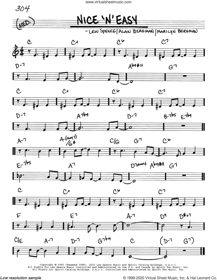 Nice 'n' Easy sheet music for voice and other instruments (real book) by Frank Sinatra, Barbra Streisand, Alan Bergman, Lew Spence and Marilyn Bergman, intermediate skill level