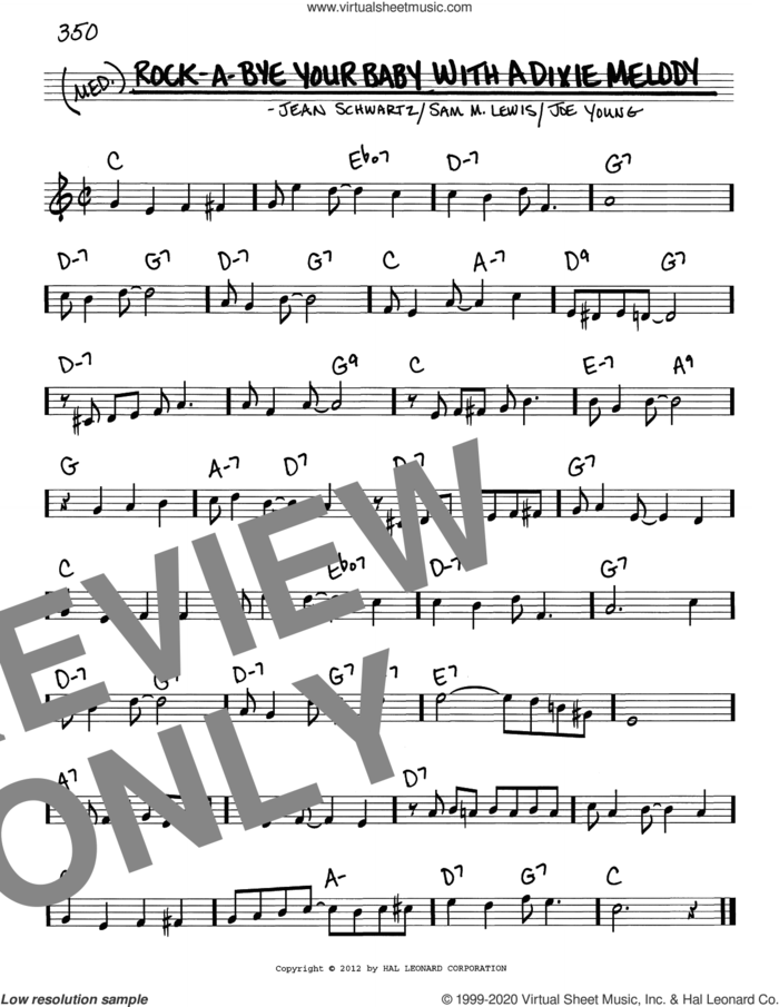 Rock-A-Bye Your Baby With A Dixie Melody sheet music for voice and other instruments (real book) by Al Jolson, Jean Schwartz, Joe Young and Sam Lewis, intermediate skill level