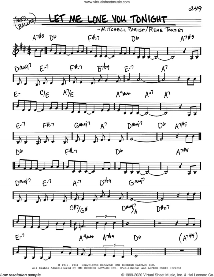 Let Me Love You Tonight sheet music for voice and other instruments (real book) by Mitchell Parish and Rene Touzet, intermediate skill level
