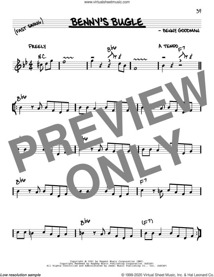 Benny's Bugle sheet music for voice and other instruments (real book) by Benny Goodman, intermediate skill level