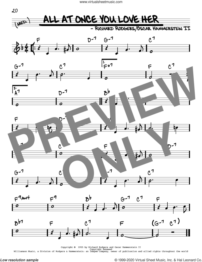 All At Once You Love Her sheet music for voice and other instruments (real book) by Perry Como, Oscar II Hammerstein and Richard Rodgers, intermediate skill level