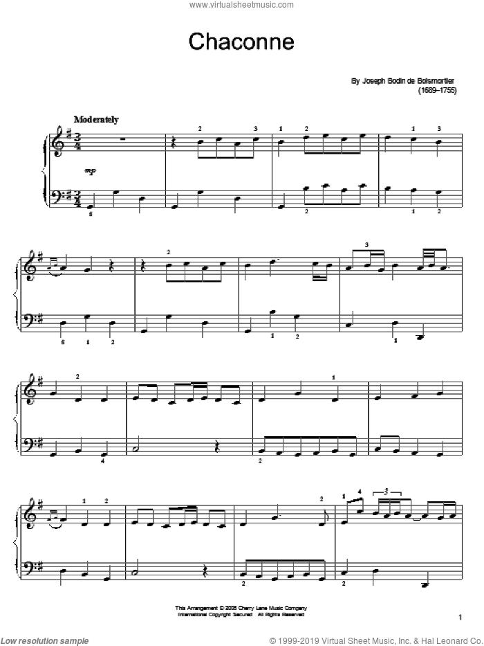 Chaconne sheet music for piano solo by Joseph Bodin De Boismortier, classical score, easy skill level