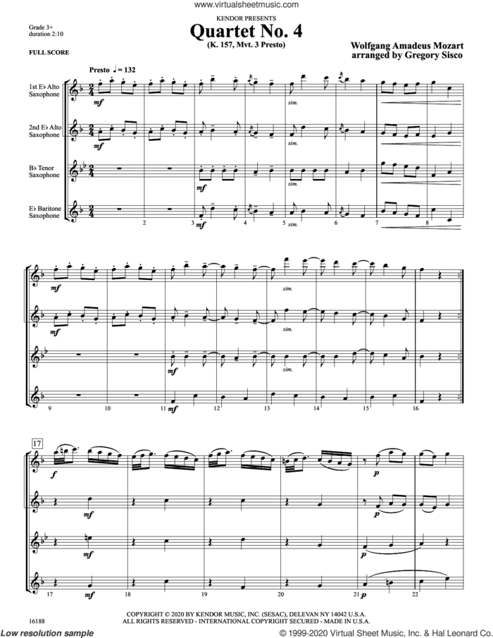 Quartet No. 4 (K. 157, Mvt. 3 Presto) (arr. Gregory Sisco) (COMPLETE) sheet music for saxophone quartet by Wolfgang Amadeus Mozart and Gregory Sisco, classical score, intermediate skill level
