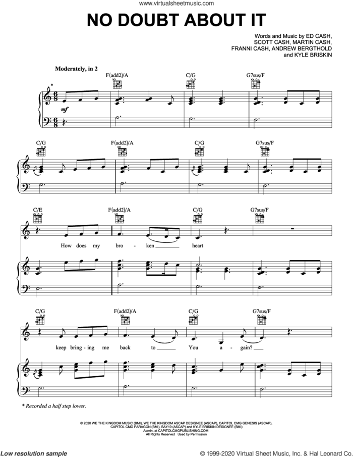 No Doubt About It sheet music for voice, piano or guitar by We The Kingdom, Andrew Bergthold, Ed Cash, Franni Cash, Kyle Briskin, Martin Cash and Scott Cash, intermediate skill level