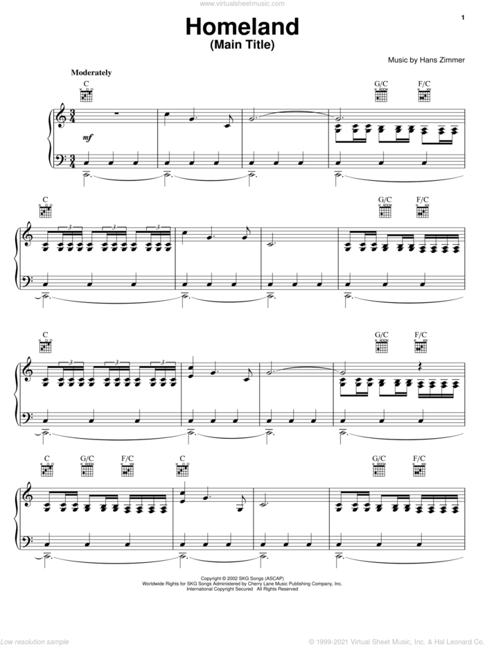 Homeland (Main Title) sheet music for voice, piano or guitar by Hans Zimmer and Spirit: Stallion Of The Cimarron (Movie), intermediate skill level
