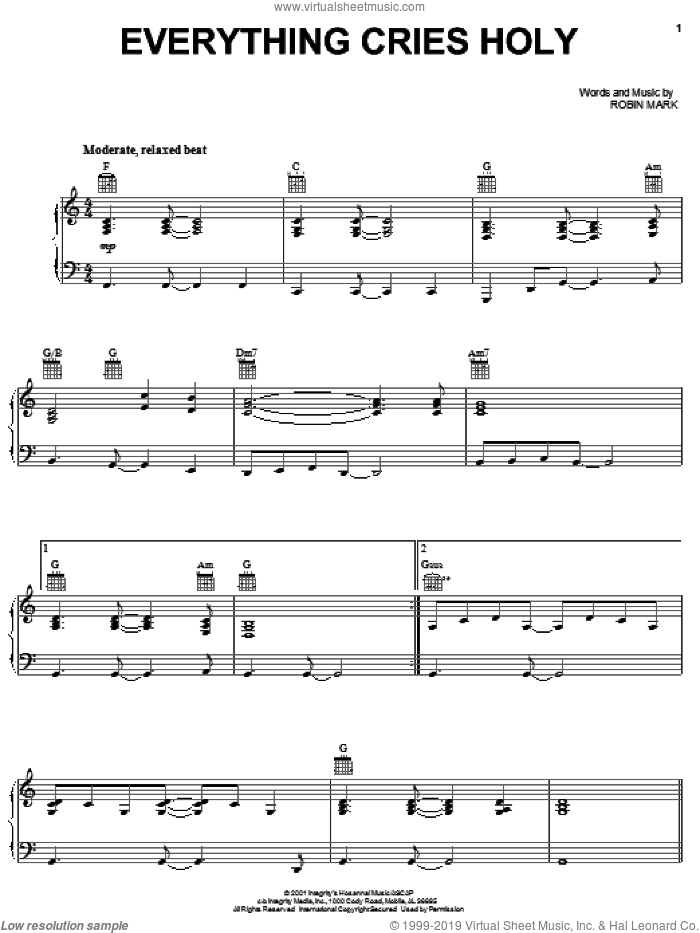 Everything Cries Holy sheet music for voice, piano or guitar by Robin Mark, intermediate skill level