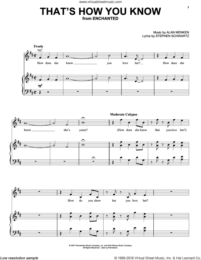 That's How You Know (from Enchanted) sheet music for voice, piano or guitar by Amy Adams, Enchanted (Movie), Alan Menken and Stephen Schwartz, intermediate skill level