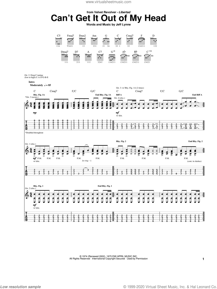 Can't Get It Out Of My Head sheet music for guitar (tablature) by Velvet Revolver, Electric Light Orchestra and Jeff Lynne, intermediate skill level
