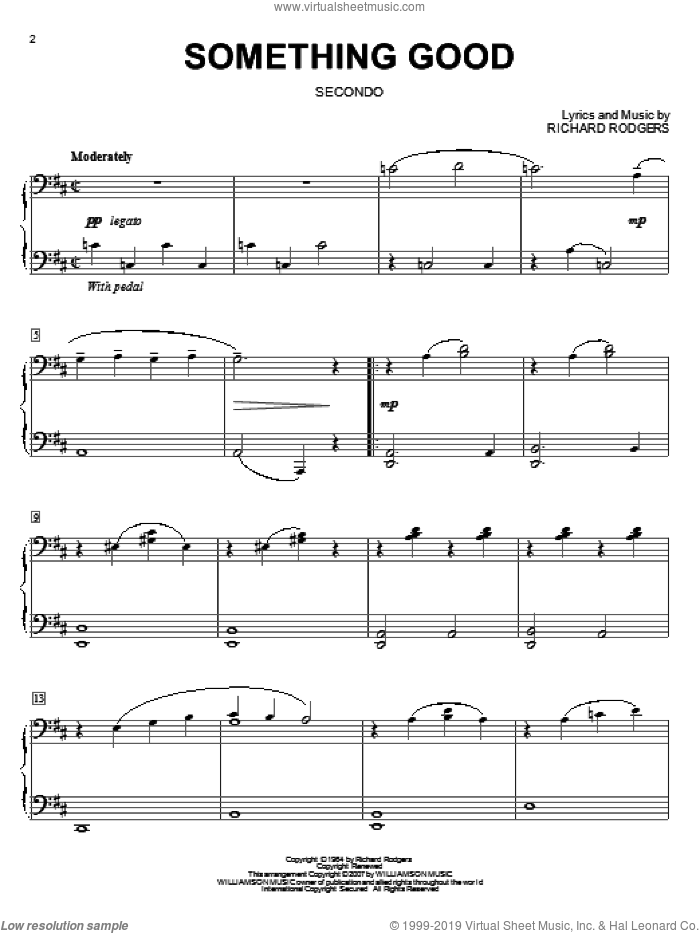 Something Good sheet music for piano four hands by Rodgers & Hammerstein, Oscar Hammerstein and Richard Rodgers, intermediate skill level