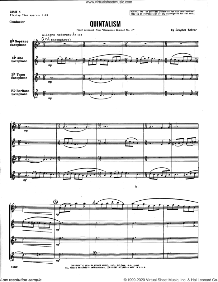 Quintalism (first movement from Saxophone Quartet No. 1) (COMPLETE) sheet music for saxophone quartet by Douglas Walter, intermediate skill level