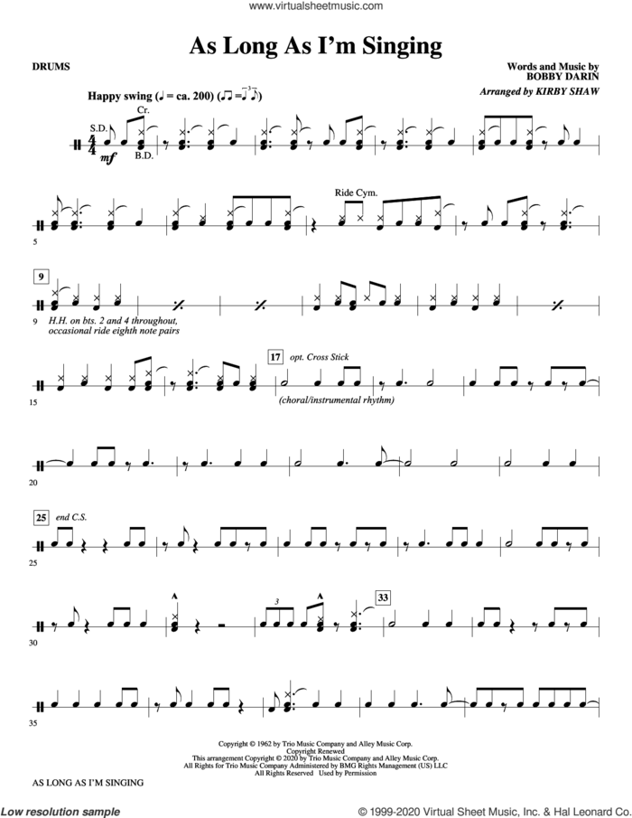 As Long As I'm Singing (arr. Kirby Shaw) sheet music for orchestra/band (drums) by Bobby Darin and Kirby Shaw, intermediate skill level