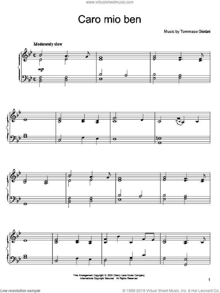 Caro Mio Ben sheet music for piano solo by Tommaso Giordani and Anonymous Italian poem, classical wedding score, intermediate skill level