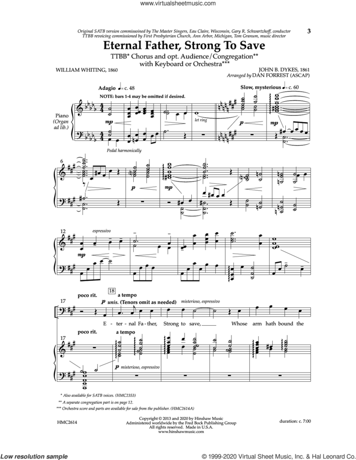 Eternal Father, Strong To Save sheet music for choir (TTBB: tenor, bass) by John Bacchus Dykes, Dan Forrest and William Whiting, intermediate skill level