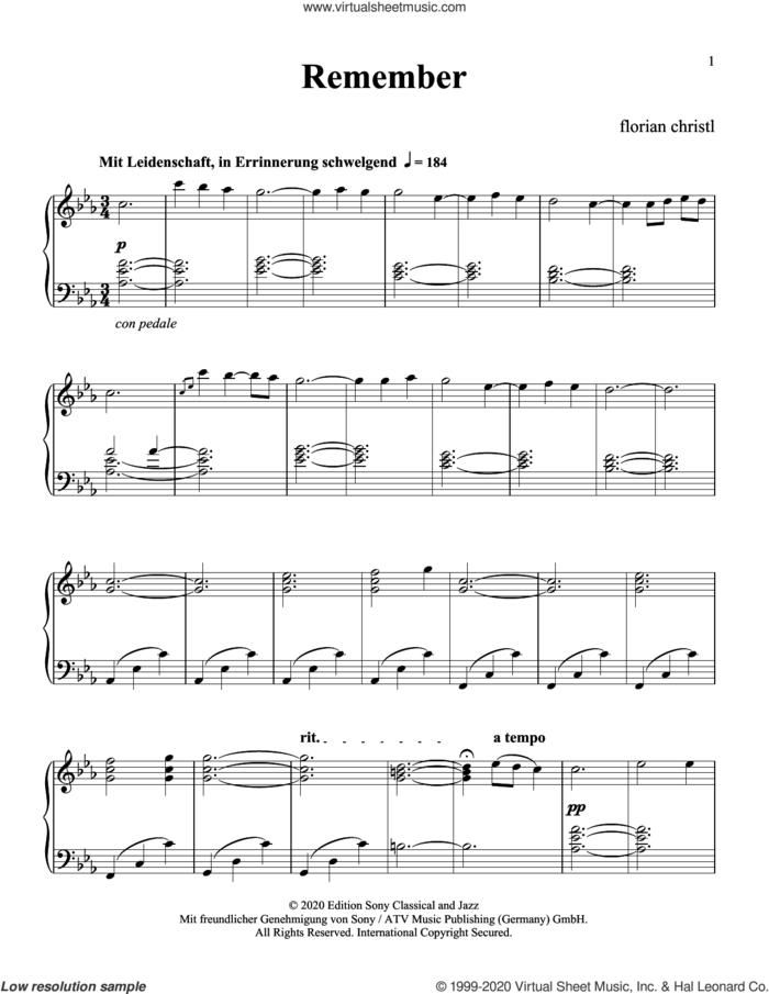 Remember sheet music for piano solo by Florian Christl, classical score, intermediate skill level