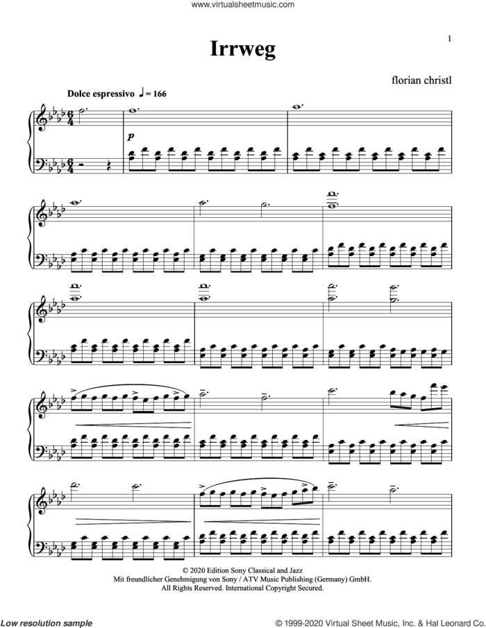 Irrweg sheet music for piano solo by Florian Christl & Gereon Theis and Florian Christl, classical score, intermediate skill level