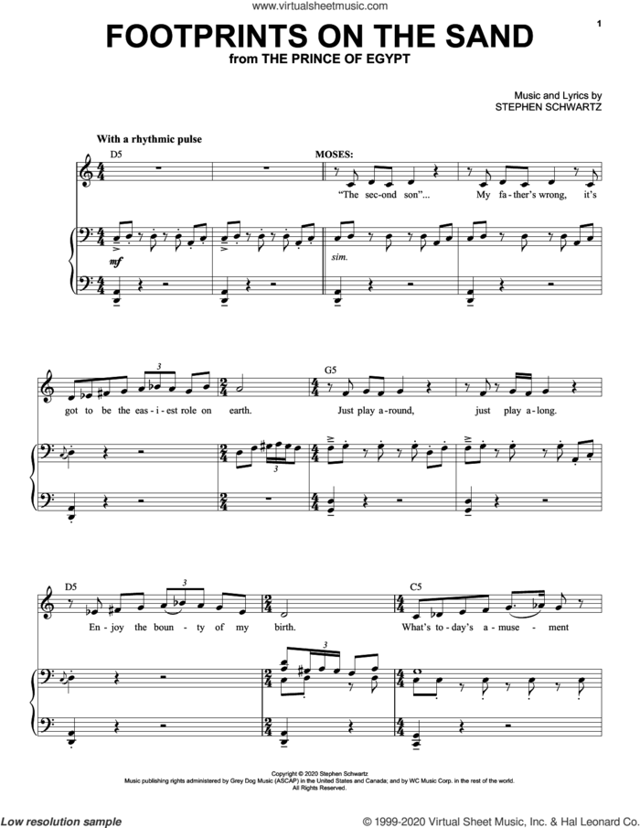 Footprints On The Sand (from The Prince Of Egypt: A New Musical) sheet music for voice and piano by Stephen Schwartz, intermediate skill level