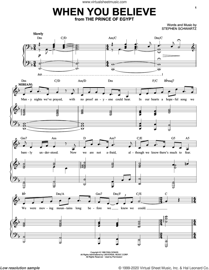 When You Believe (from The Prince Of Egypt: A New Musical) sheet music for voice and piano by Stephen Schwartz, intermediate skill level