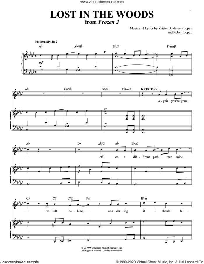 Lost In The Woods (from Disney's Frozen 2) sheet music for voice and piano by Jonathan Groff, Kristen Anderson-Lopez and Robert Lopez, intermediate skill level