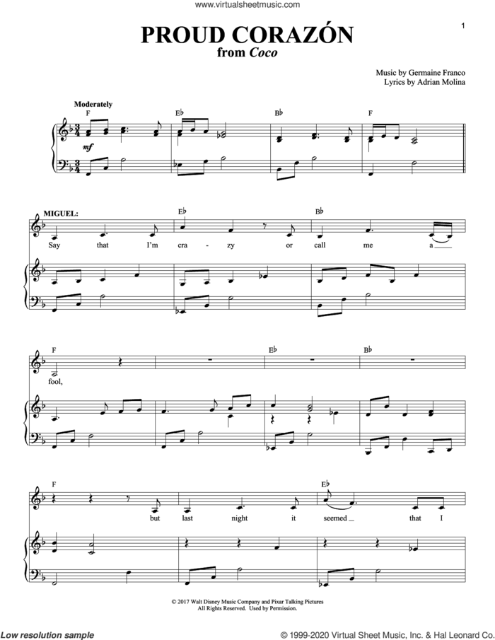 Proud Corazon (from Coco) sheet music for voice and piano by Germaine Franco, Adrian Molina and Germaine Franco & Adrian Molina, intermediate skill level