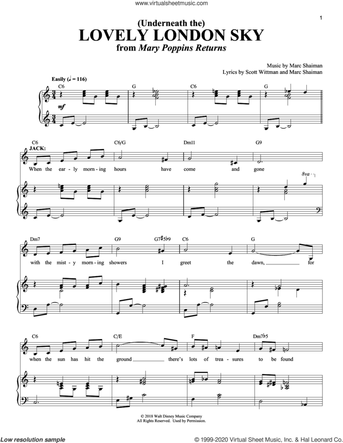 (Underneath The) Lovely London Sky (from Mary Poppins Returns) sheet music for voice and piano by Lin-Manuel Miranda, Marc Shaiman and Scott Wittman, intermediate skill level