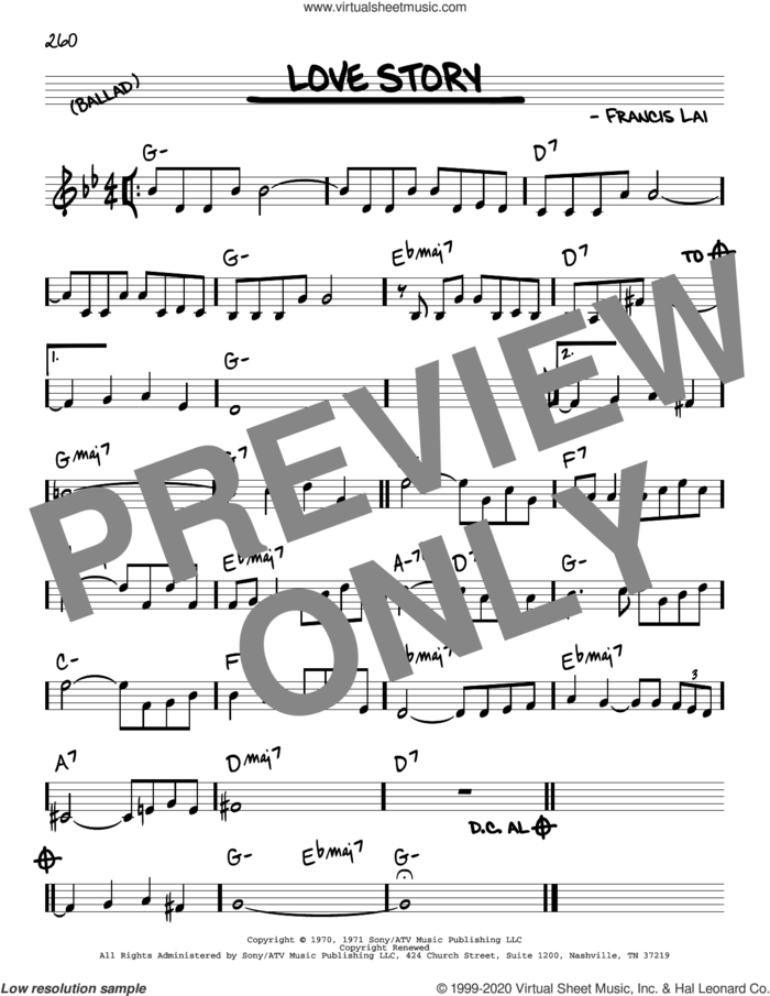 Love Story sheet music for voice and other instruments (real book) by Francis Lai, intermediate skill level