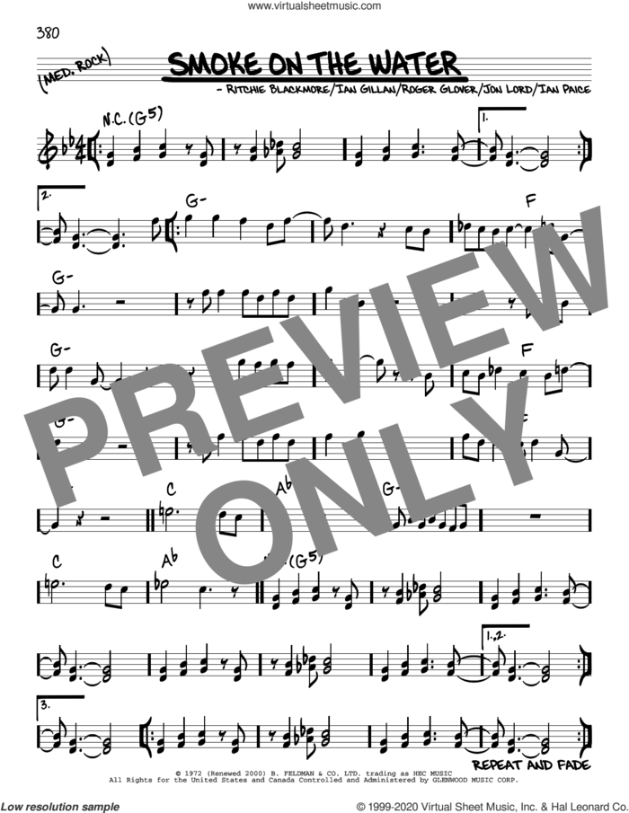 Smoke On The Water sheet music for voice and other instruments (real book) by Deep Purple, Ian Gillan, Ian Paice, Jon Lord, Ritchie Blackmore and Roger Glover, intermediate skill level