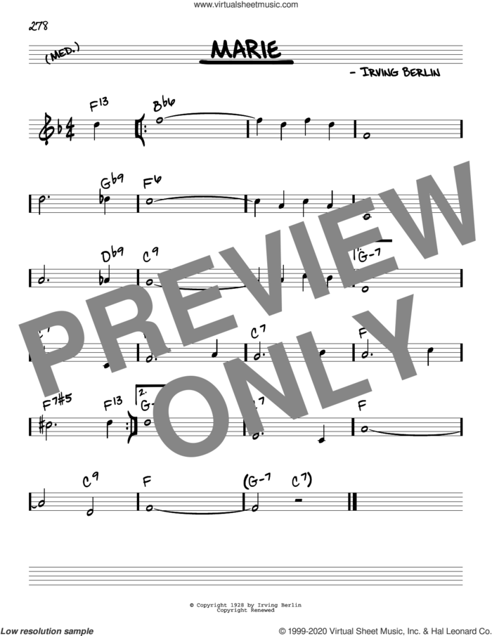 Marie sheet music for voice and other instruments (real book) by Irving Berlin and The Bachelors, intermediate skill level