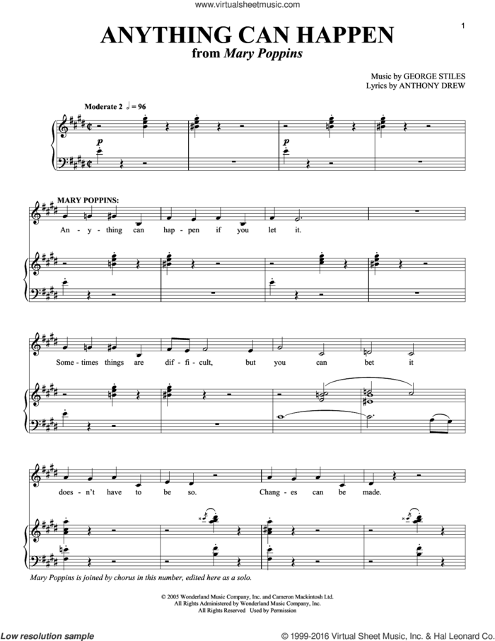 Anything Can Happen sheet music for voice and piano by Anthony Drewe, Mary Poppins (Musical) and George Stiles, intermediate skill level