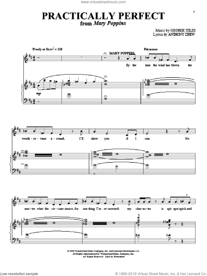 Practically Perfect sheet music for voice and piano by Anthony Drewe, Mary Poppins (Musical) and George Stiles, intermediate skill level