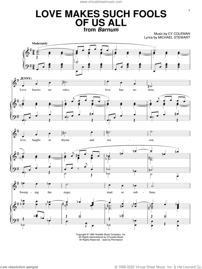 Love Makes Such Fools Of Us All sheet music for voice and piano by Cy Coleman and Michael Stewart, intermediate skill level