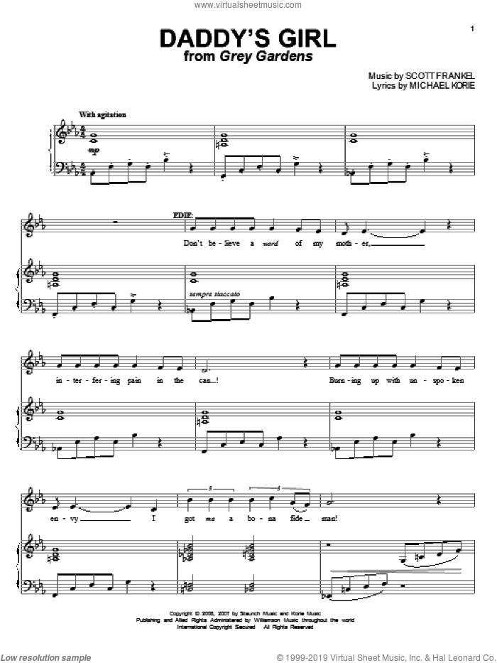 Daddy's Girl sheet music for voice and piano by Michael Korie and Scott Frankel, intermediate skill level