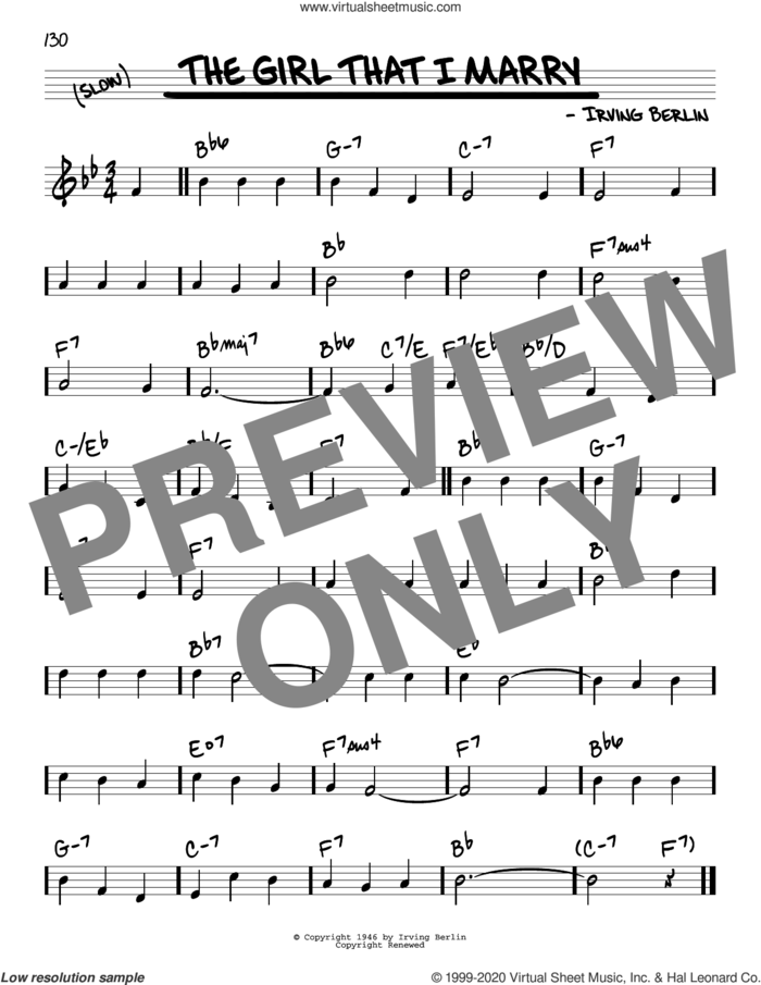The Girl That I Marry sheet music for voice and other instruments (real book) by Irving Berlin, intermediate skill level