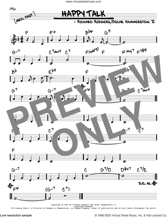 Happy Talk sheet music for voice and other instruments (real book) by Richard Rodgers, Oscar II Hammerstein and Rodgers & Hammerstein, intermediate skill level